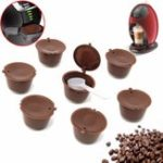 Оригинал 8Pcs Set Refillable Coffee Capsules для Dolce Gusto Многоразовые пивовары Refill Coffee Cup Filter