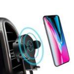 Оригинал ROCK Вращение на 360 градусов Qi Беспроводное Авто Зарядное устройство для телефона с индикатором LED для iPhone X S8