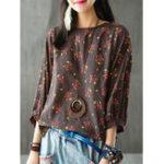 Оригинал M-5XL Цветочная печатная блузка