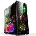 Оригинал 41.4cmx18cmx39cm Компьютер ATX PC Чехол Midi Tower USB3.0 с 3 RGB 120-миллиметровыми вентиляторами охлаждения Дистанционный