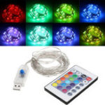 Оригинал USB Powered 5.3M 50LEDs RGB 8 режимов Silver Провод Fairy String Light + Remote Control для Рождества