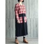Оригинал Винтаж Женское Plaid Patchwork Pocket Batwing Sleeve Платье