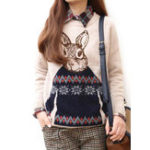 Оригинал Кролик Шаблон Пуловерный свитер