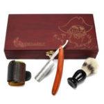 Оригинал 4Pcs Shaver Набор Бритва Щетка Strop Wooden Коробка Set