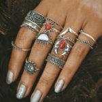 Оригинал 14 шт Повседневный Бирюзовый Цветочный выгравированный набор кольца Knuckle