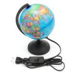 Оригинал World Earth Globe Atlas Map География Образование Подарок C Вращающийся стенд LED свет