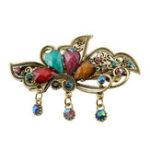 Оригинал Модные многоцветные Rhinestone цветок бабочка Весна шпильки