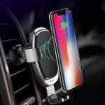 Оригинал ROCK QI Wireless Авто Зарядное устройство Gravity Linkage Авто Замок Повернутая подставка для телефона для iPhone X 8