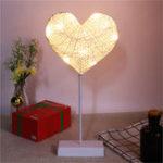 Оригинал Батарея Powered Rattan String Сердце Ночной свет Теплый белый декор стола для вечеринки для вечеринок