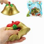 Оригинал Chameleon Squishy Christmas Jingle Bell Медленная восходящая игрушка с упаковкой Kids Christmas Gift Decor