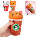 Оригинал 13.5 * 8.5CM Sunny Squishys Кот Кубок кофе Медленный рост Soft Подарок с игрушками для животных с упаковкой