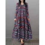 Оригинал Gracila Этническая Женское Геометрическая печать V-образным вырезом Loose Maxi Платье