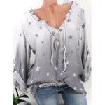 Оригинал V-образным вырезом звезды Печатный пуловер Рубашка