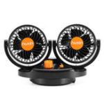 Оригинал 4 дюймов 24V Orange Mini Auto 360 градусов Вращающееся воздушное охлаждение Двойной вентилятор Регулируемый низкий уровень шума