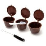 Оригинал 3 Pcak Многоразовые чашки для кофе с капсулой с пластиковой ложкой и чисткой Щетка Refill