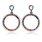 Оригинал Модный Colorful Rhinestone Pierced Circle Женское Серьги
