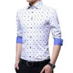 Оригинал Мужская мода Бизнес Печать с длинным рукавом Turn Down Collar