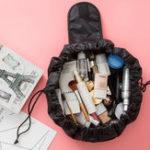 Оригинал Все в One Мода Большая емкость Drawstring Cosmetic Сумка Уникальная структура составляют Сумка Travel Portable Storage Pouch