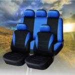 Оригинал УниверсальныйFourSeasonsBlueBlackткань Авто Защитные чехлы для сидений 9pc Полный комплект Airbag Compatible