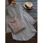 Оригинал Женское Полоса лацкане с длинным рукавом блузка