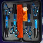 Оригинал 6Pcs Set PetT Собака Волосы Ножницы для резки повязки Набор для уборочных работ Curved Professional Волосы Scissors Инструмент