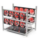 Оригинал 12 GPU Steel Coin Miner Mining Frame Steel Чехол Светодиодный С 16 вентиляторами для ETH ZEC / BTB