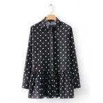 Оригинал Loose Polka Dot печатная блузка