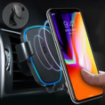 Оригинал 360 градусов 10W 9V Qi Gravity LED Быстрое беспроводное зарядное устройство для воздуховодов для iPhone X Plus