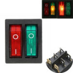 Оригинал 6 контактов Double SPST On / Off Rocker Лодка Switch Red Green Light AC 250V / 15A 125V / 20A Switch