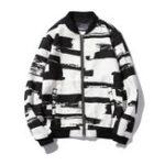 Оригинал Мужская черная белая мода Casual Sport Тонкий Бейсбольная куртка