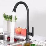 Оригинал Holmark Black Chrome Современный кухонный бассейн Faucet Solid Brass Spout Поворотный смеситель для раковины