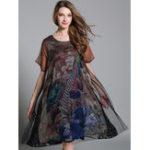 Оригинал O-NEWE Elegant Женское Loose Patchwork Peacock Печатная версия Платье