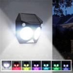 Оригинал 20 LED 7 Изменение цвета Солнечная Водонепроницаемы Настенный светильник с двумя датчиками движения для На открытом воздухе Сад
