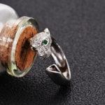 Оригинал 925 Серебряный Zircon Leopard Head Регулируемое открывающее кольцо для подарка