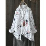 Оригинал Повседневная милая мультяшная вышивка Polka Dot Рубашка Блузки