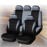 Оригинал UniversalFourSeasonsGreyBlackткань Авто Защитные чехлы для сидений 9pc Полный комплект Airbag Compatible