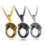 Оригинал Титановая сталь Ouroboros Bite Tail Дракон Вечное ожерелье