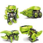 Оригинал 4 В 1 Солнечная Робот DIY Соберите обучающую обучающую машину Динозавр