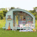 Оригинал DIY Dollhouse Handcraft Миниатюрный проект Деревянные куклы Дом Time Travel Caravan Gift Набор