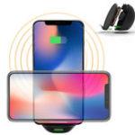 Оригинал Беспроводная Qi Зарядное устройство для быстрой подставки с двойной катушкой с вентилятором для Samsung S8 iPhone 8 Plus X