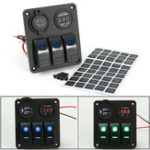 Оригинал   LED Rocker Switch Panel Dual USB Charger Power Разъем Вольтметр Marine Лодка RV