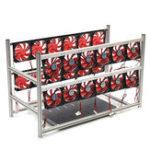 Оригинал 16 GPU Steel Coin Miner Mining Frame Сталь Чехол Светодиодный С 24 вентиляторами для ETH ZEC / BTB