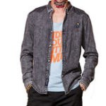 Оригинал Мужская мода Повседневная вышивка Украшение Хлопок Denim Рубашка