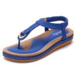 Оригинал SOCOFY Удобная обувь Упругий клип Носок Flat Пляжный Сандалии US Размер 5-13
