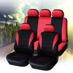 Оригинал УниверсальныйFourSeasonsRedBlackткань Авто Защитные чехлы для сидений 9pc Полный комплект Airbag Compatible
