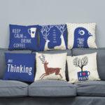 Оригинал 45 х 45 см Супер Soft Плюшевый современный минималистский стиль Дир Северный Хлопок Подушка для домашнего дивана Decration