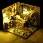 Оригинал T-Yu TD11 Summer Sea House DIY Кукольный домик со световой крышкой Миниатюрная модельная коллекция подарков