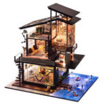 Оригинал T-Yu Dollhouse DIY Прибрежная вилла Doll House Miniatures Мебель Набор Детский подарок