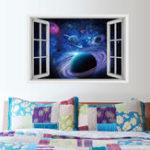 Оригинал Honana 3D Звезда Светлая Планета Спальня Гостиная Стены Стикеры Декор Декор Mural Art Съемные Наклейки Стены Планеты