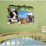 Оригинал Honana 3D животных пейзаж Творческие стены наклейки Home Decor Mural Art Съемные наклейки стены